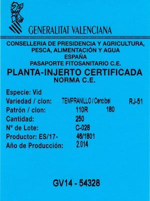 Etiqueta de plantas de vid